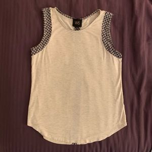 W5 tan/neutral boho top with navy printed detail